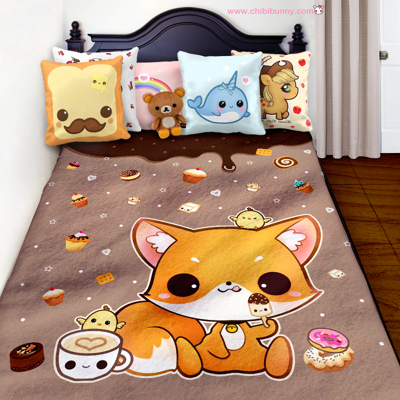 Fox And Chocolate Cakes Cute Kawaii Fleece Blanket FB40 Chibi Cool Cute Fleece Throw Blankets