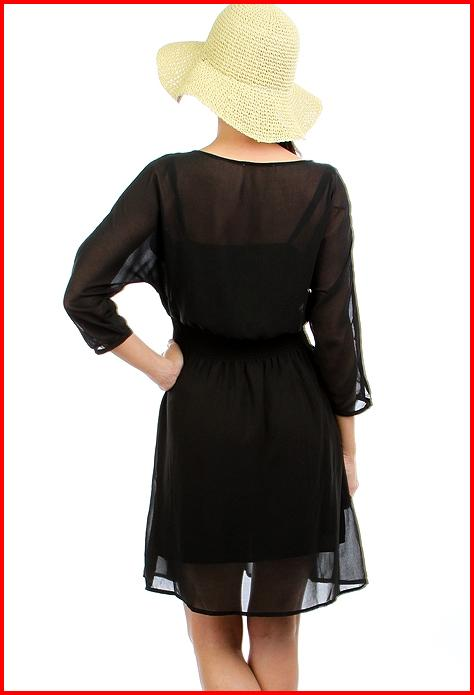 Yz black chiffon dress with cinched waist on storenvy for Cinched waist wedding dress