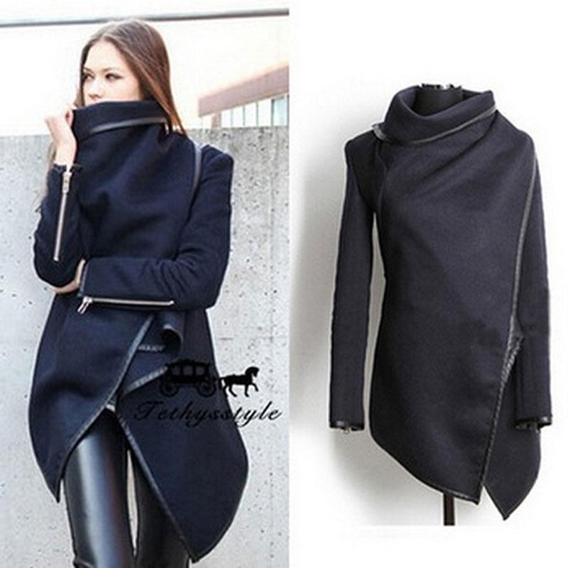 Navy Asymmetrical Hemline Wool Lapel Trench Coat · Kashion ...