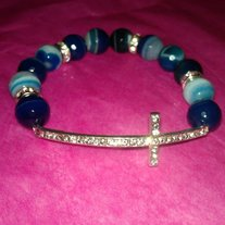 Blue Bling Cross Bracelets