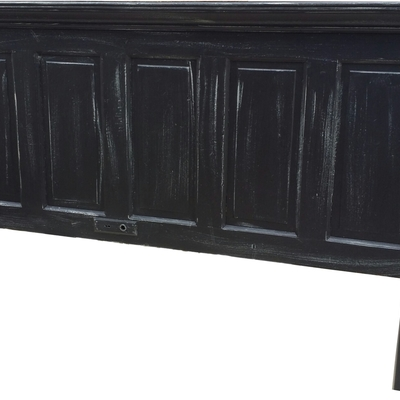 5 panel onyx black with faux distressing king size headboard with legs