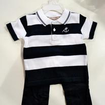 Boutique Collection by Imagewear 2 piece set navy/white striped shirt & navy pants