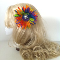 big diamond rhinestone jewel rainbow daisy hair flower clip