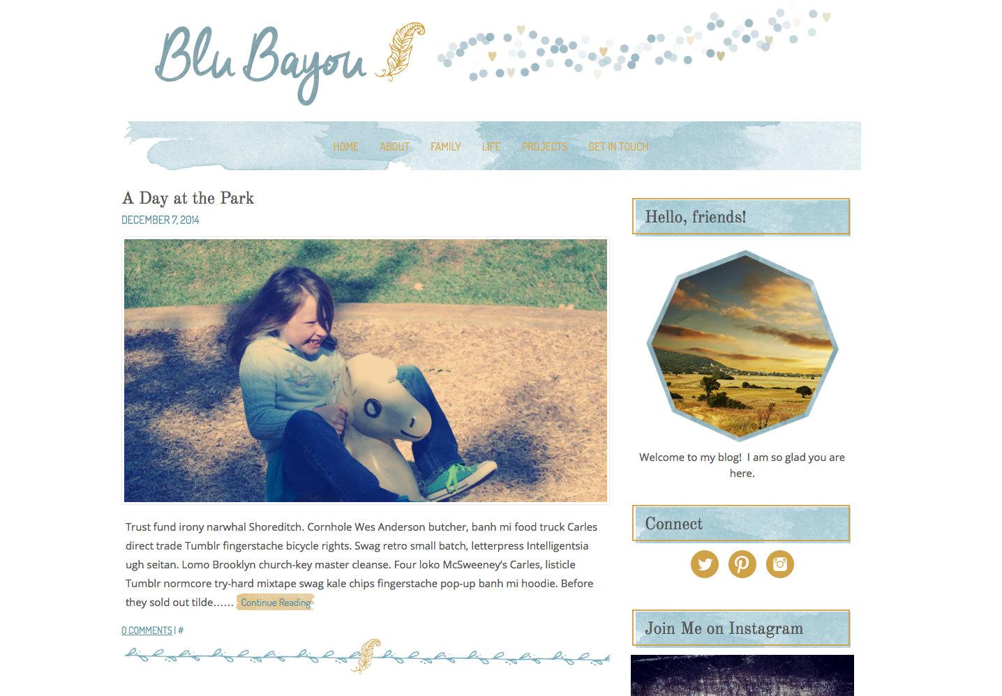 Blue Gold Watercolor Wordpress Theme Blog Website Boutique ...