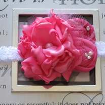 Itty Bitty Hot Pink Blooms headband