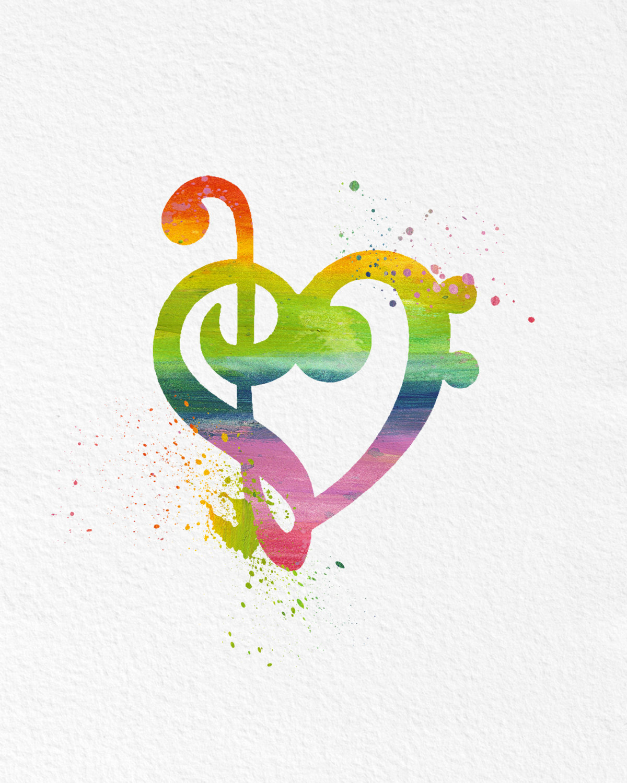 Watercolor Art Music Lovers Heart Gift Modern 8x10 Wall