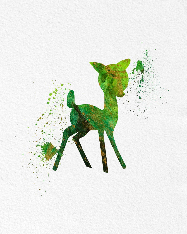 watercolor art baby deer gift modern 8x10 wall art decor cute
