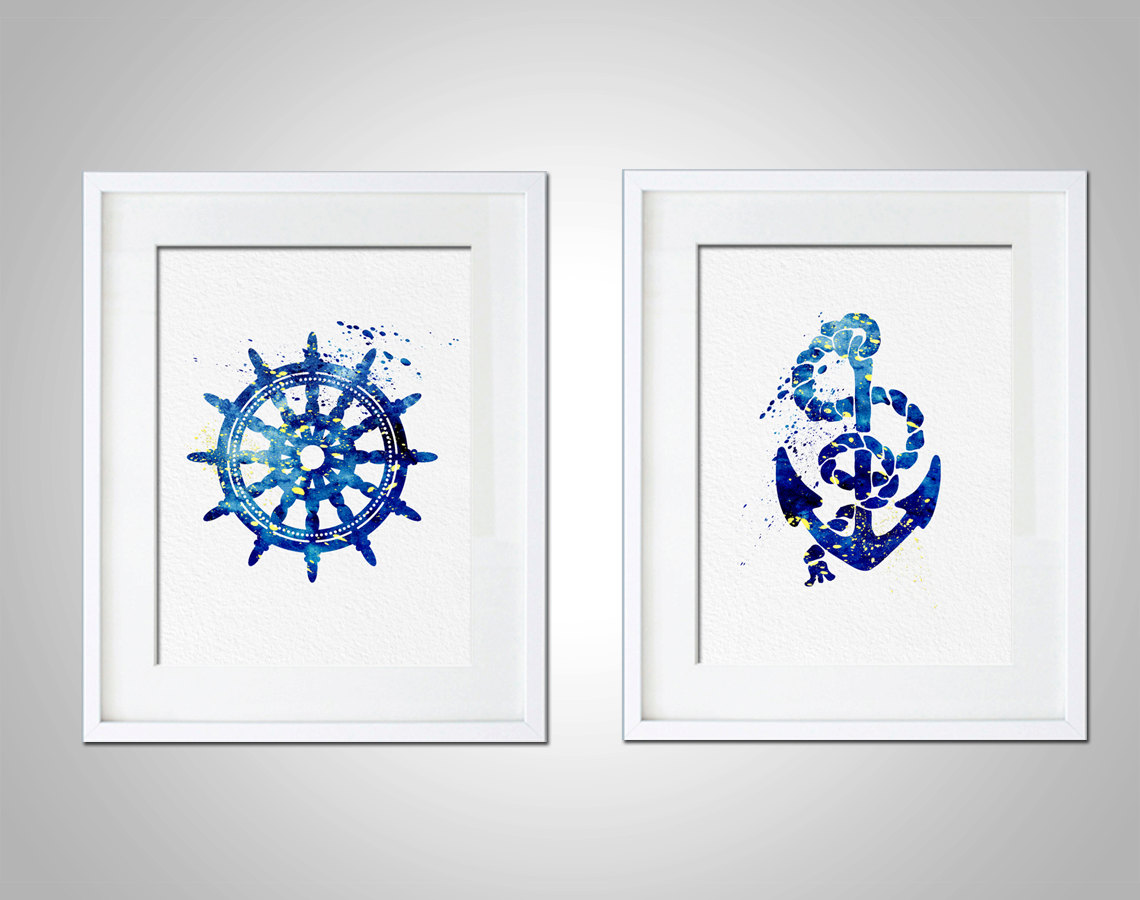 Prints For Wall Decor : Watercolor art print set of modern wall decor
