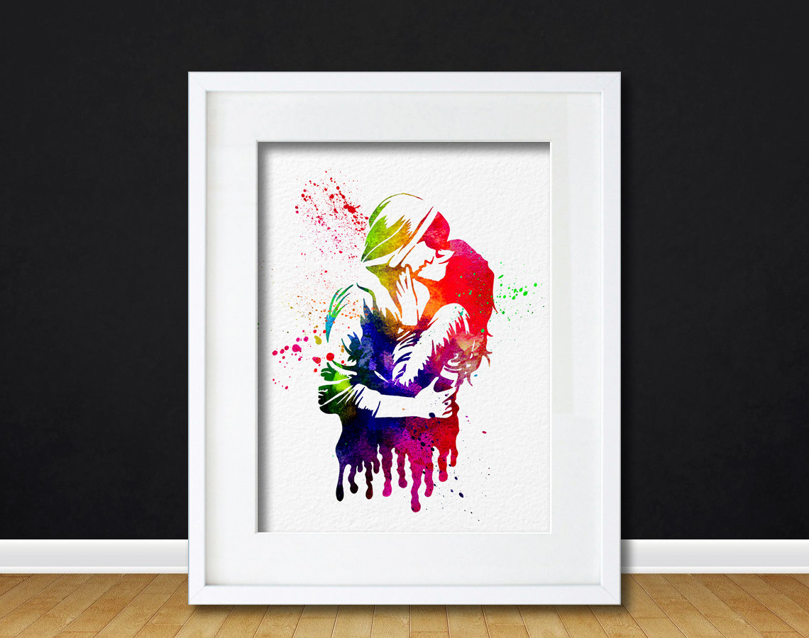Watercolor Art Print Kissing Couple Modern 8x10 Wall Art Decor Wall Hanging  Print Dorm Decor Rainbow