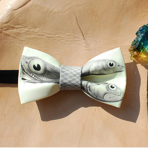 Fish patterm bow tie on storenvy for Fish bow tie