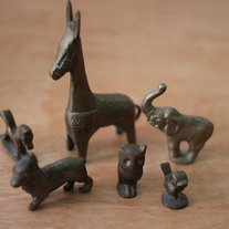 Vintage Brass Animal Figurine Set