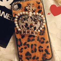 Chic Furry Brown Leopard w/Pearl Crown iPhone Case