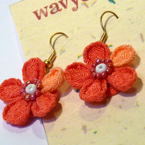 Coral chirimen earrings