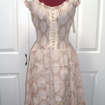 brown beige polka-dot print short puff sleeve sundress cotton lace fitted dress