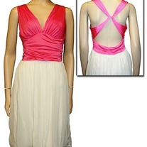 S hot pink OR teal green white halter sundress cross strap full skirt v neck long rockabilly dress