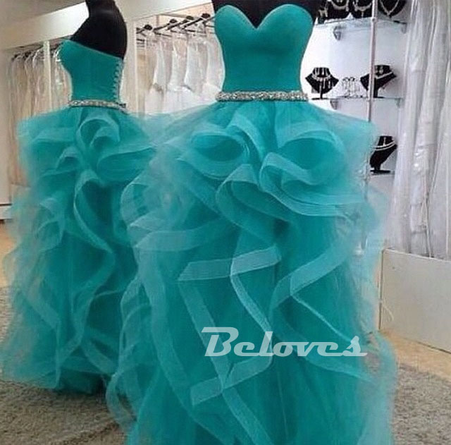 Teal Tulle Sweetheart Ball Gown Prom Dress With Layer Skirt ...