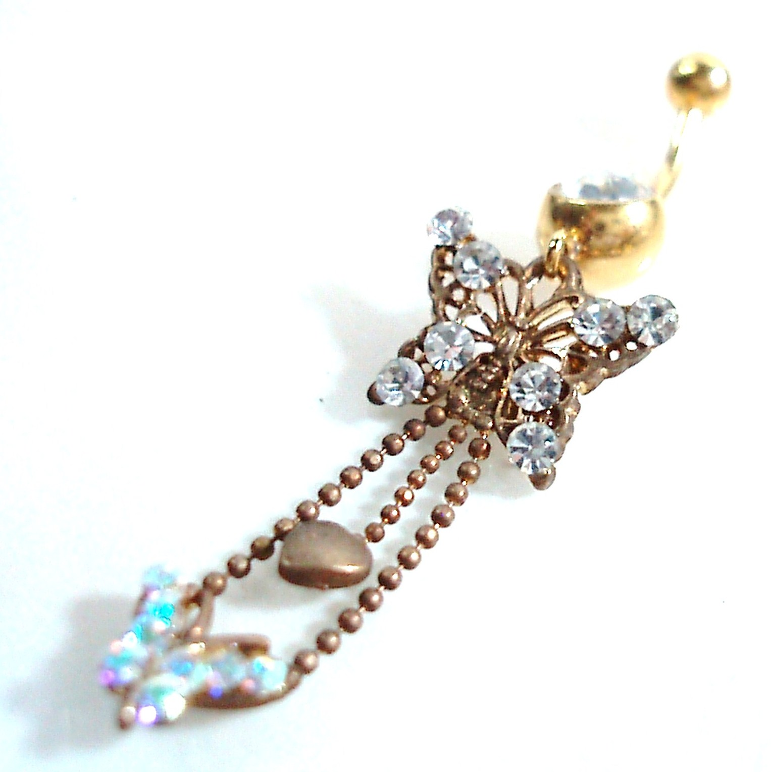 gold tone sparkling butterfly belly ring on storenvy