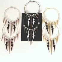 silver gunmetal OR gold tone black white lightning bolt spike charm pearl dangle hoop earrings