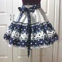S - white navy blue polka dot lace tier rockabilly full circle skirt