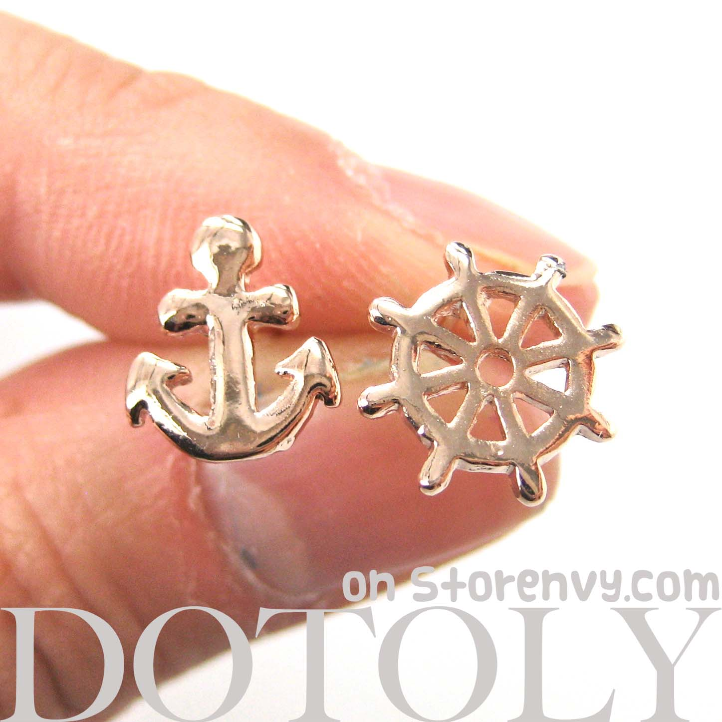 Dotoly Plus Small Anchor and Wheel Nautical Stud Earrings in Rose