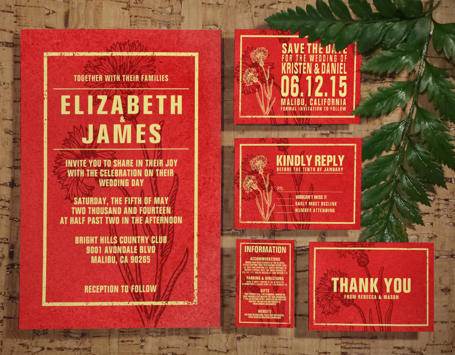 Printable Rustic Red Gold Wedding Invitations Set/Suite, Invites ...