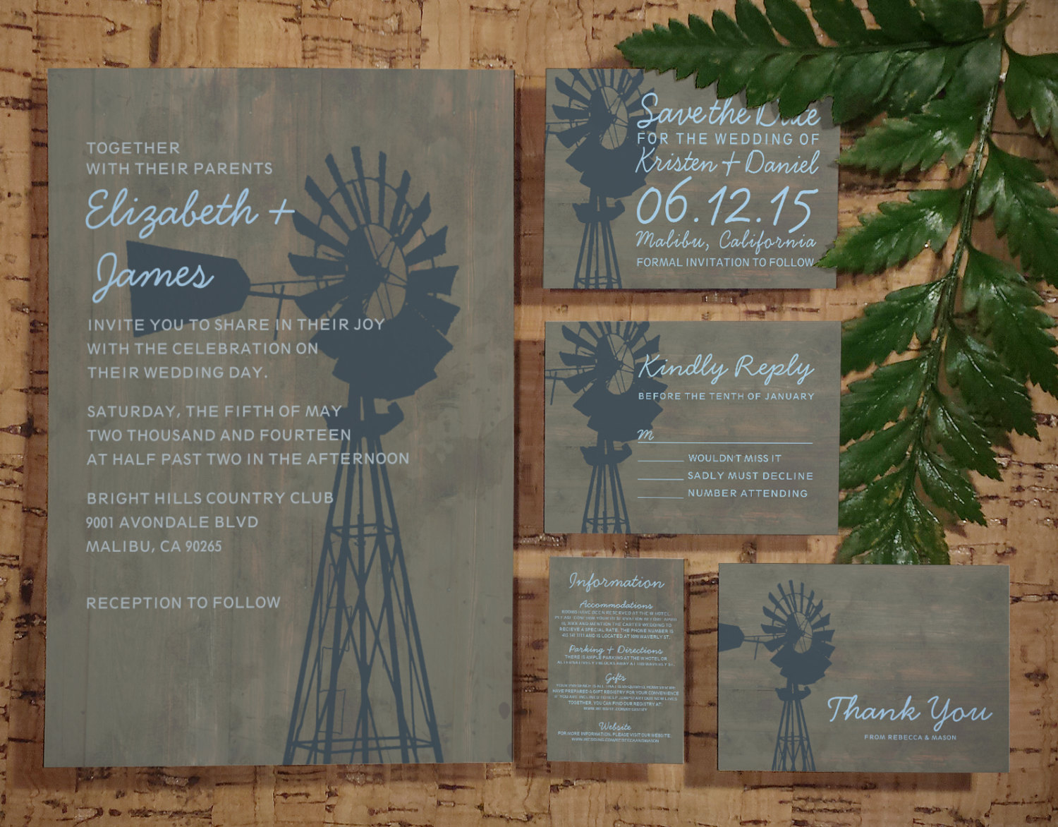 printable country windmill wedding invitations set  suite
