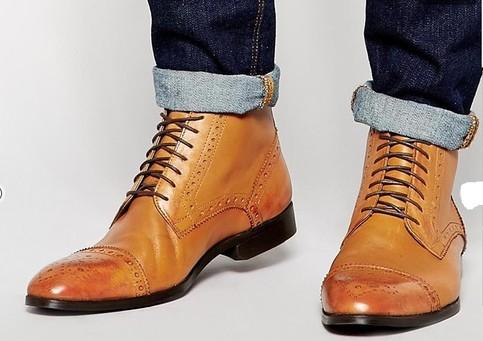 handmade custom men casual tan ankle boot mens stylish