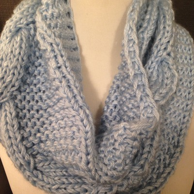 Light blue cable knit infinity