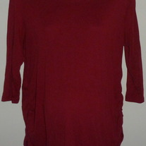 Dark Red 3/4 Length Sleeve Shirt with Ruched Sides-Motherhood Maternity Size XL