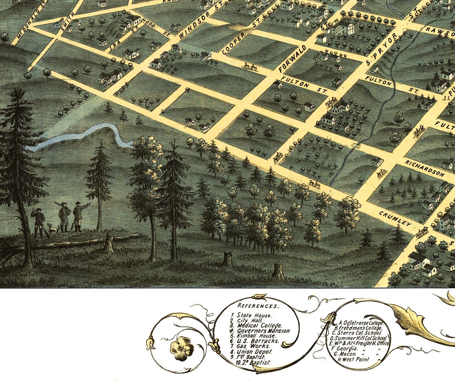 Atlanta Ga In 1871 Bird 39 S Eye View Map Aerial Panorama Vintage Antique Reproduction