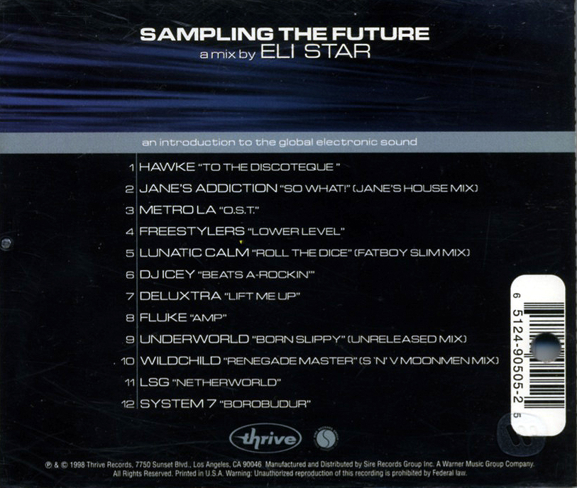 Eli star sampling the future cd 1998 techno house for House music 1998