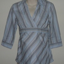 Light Blue/Brown Stripe Shirt with Collar-Motherhood Maternity Size Medium