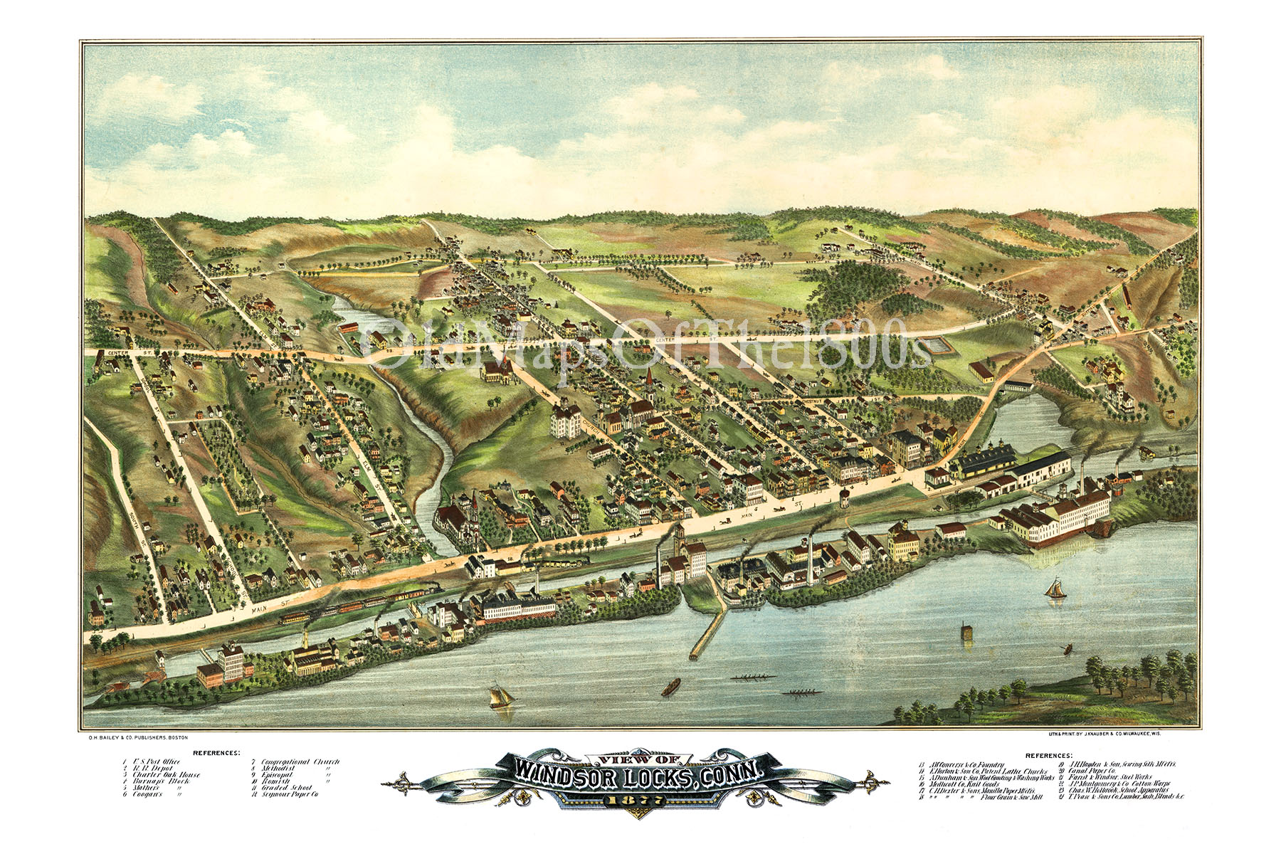 Windsor Locks CT in 1877 Birds Eye View Aerial map Panorama