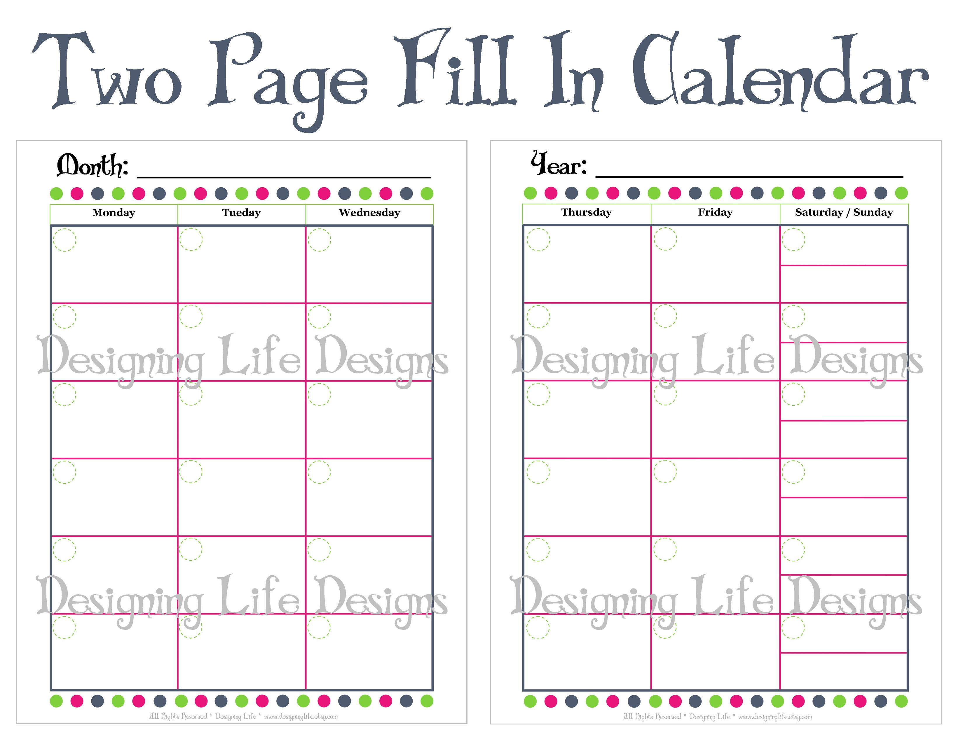 Designing Life | Fill In Monthly Calendar Printable - Two Page Design ...