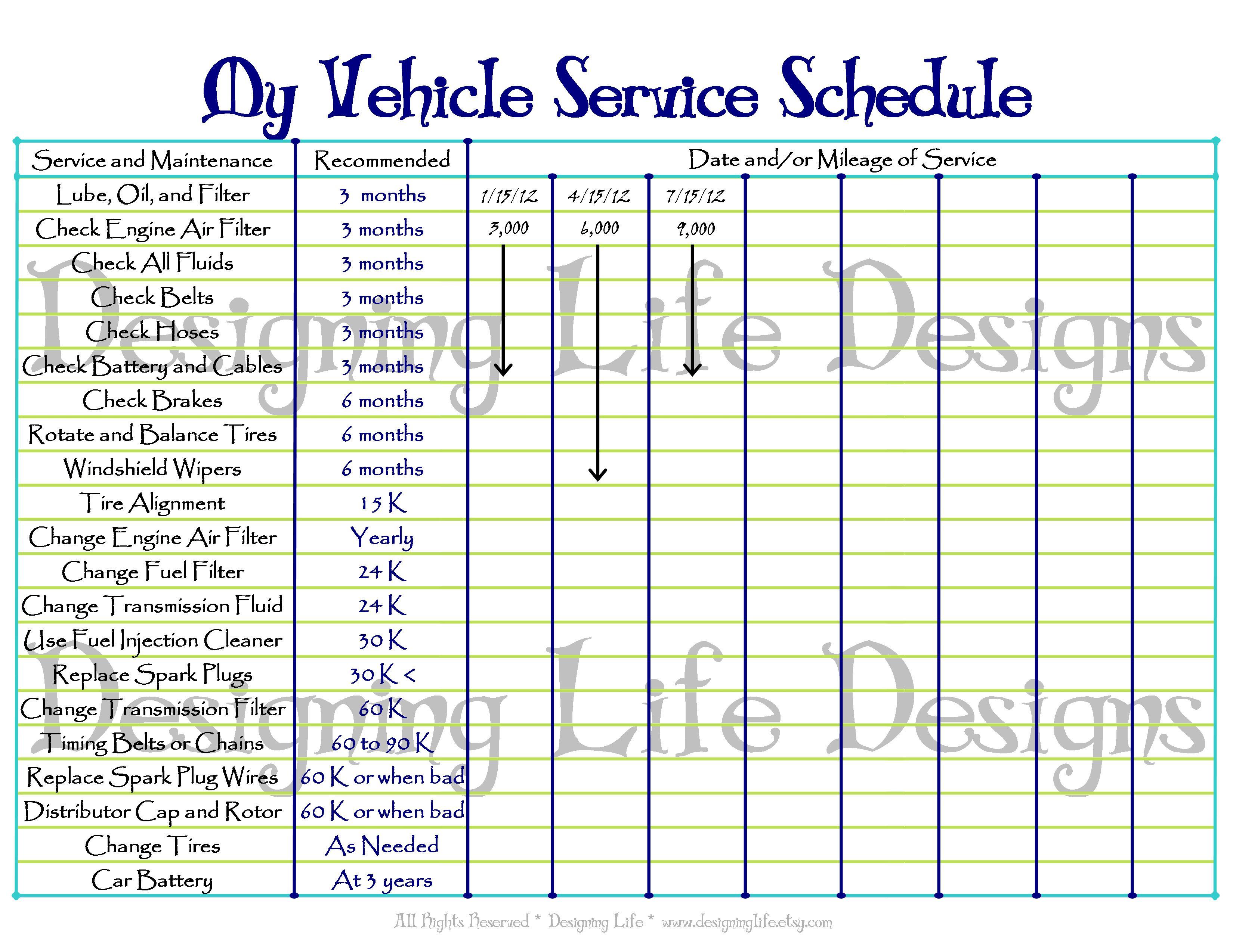 vehicle maintenance schedules