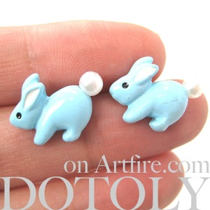 Bunny Rabbit Animal Stud Earrings in Light Blue with Pearls Super Cute