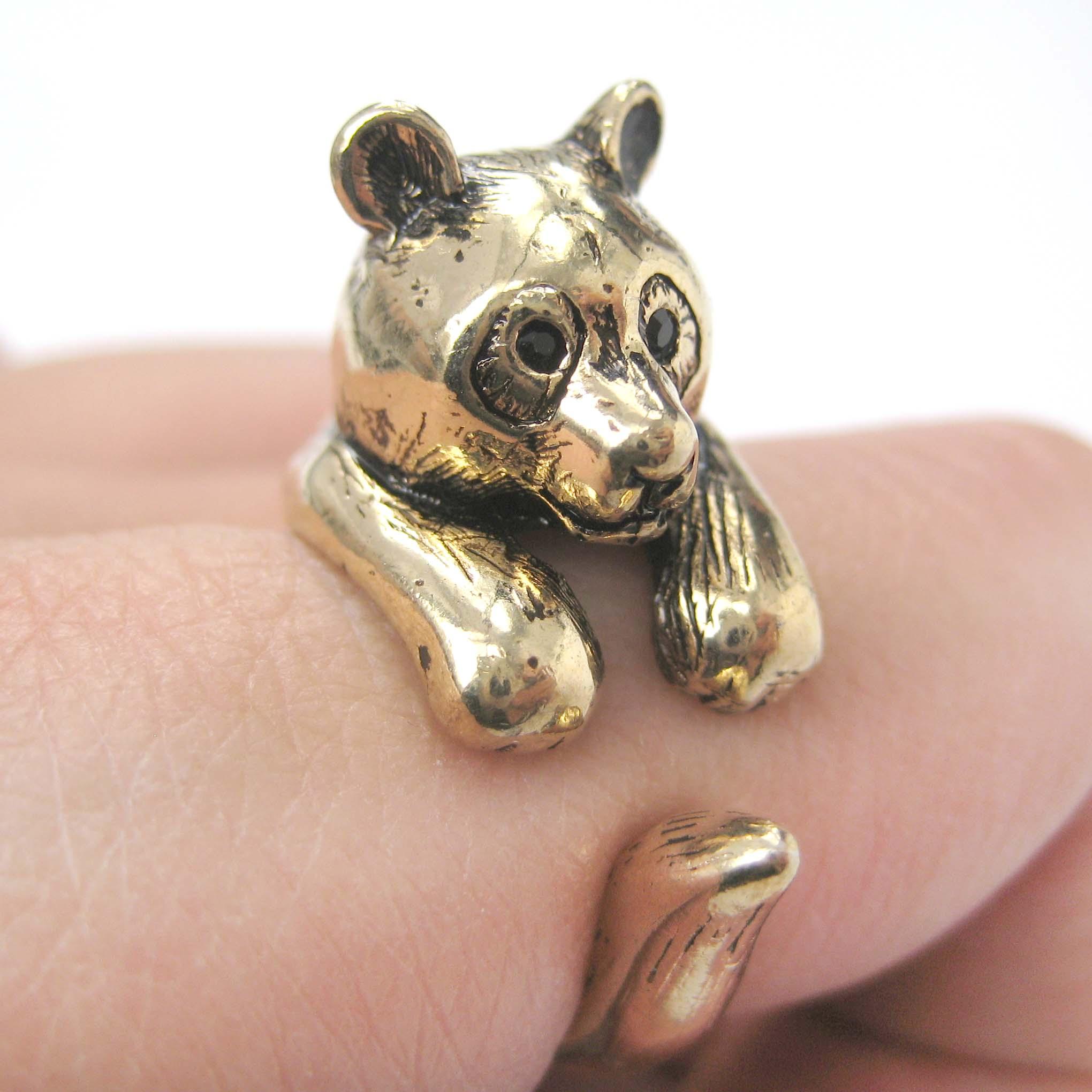 3d panda animal wrap around ring in gold size 5 to 9