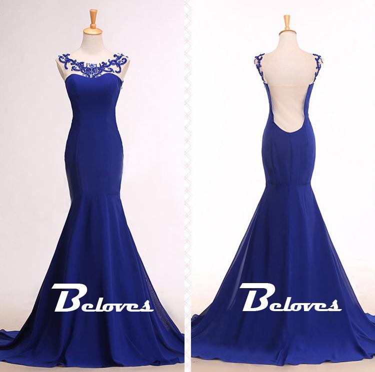 Royal Blue Cap Sleeves Mermaid Prom Gown · Beloves · Online Store ...