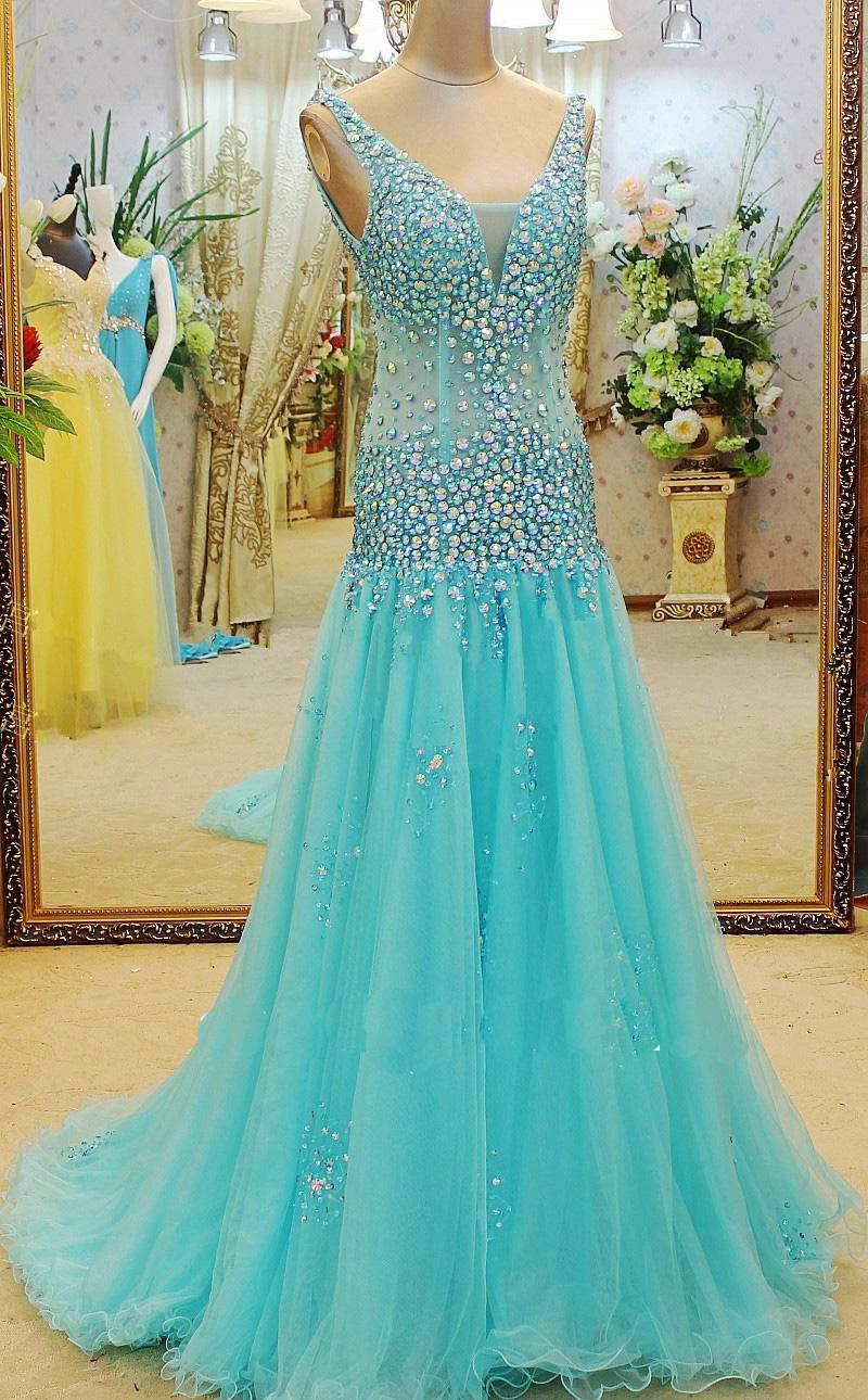 blue prom dress, long prom dress, cheap prom dress, newest prom ...