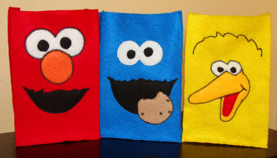 Sesame street felt party favor bag assortment - 1 of each (elmo, cookie monster and big bird)