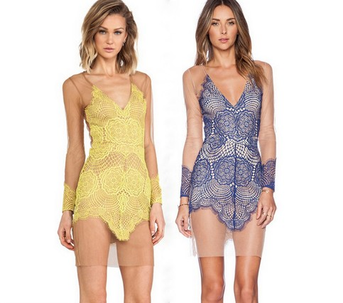 Mia sheer lace mesh dress yellow blue 183 fashion struck 183 online