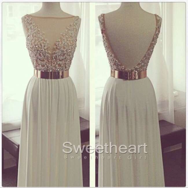 Sweetheart Girl White A Line Chiffon Long Prom Dresses Formal