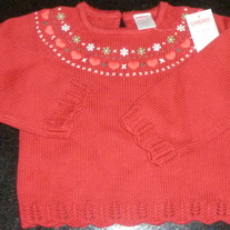 Red Sweater with Hearts and Flowers-NEW-Gymboree Size 18-24 Months