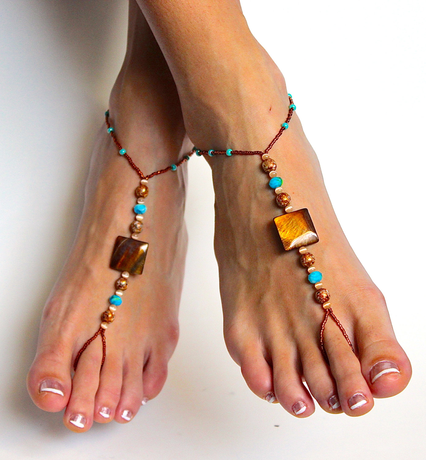 stunning boho chic beaded barefoot sandals foot jewelry