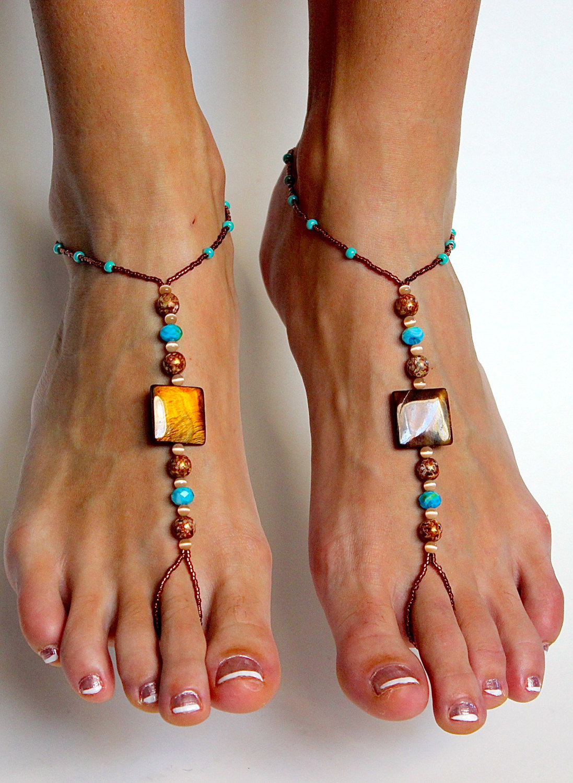 a734a0b93b5 Stunning Boho Chic Beaded Barefoot Sandals Foot Jewelry Handmade Beaded  Foot Thong - Thumbnail 1 ...