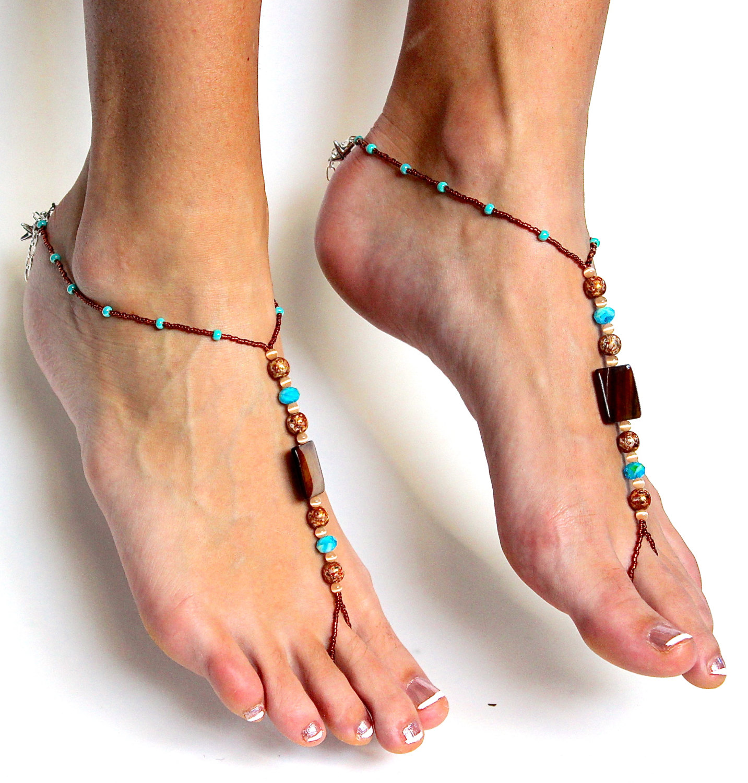 Wedding Foot Jewelry stunning boho chic beaded barefoot sandals foot jewelry handmade thong thumbnail 2