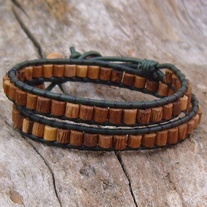 Green Leather Wood Bead Wrap Bracelet