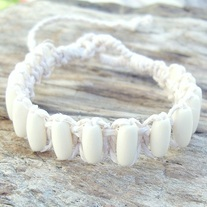 White Macrame Hemp and Bone Bead Bracelet