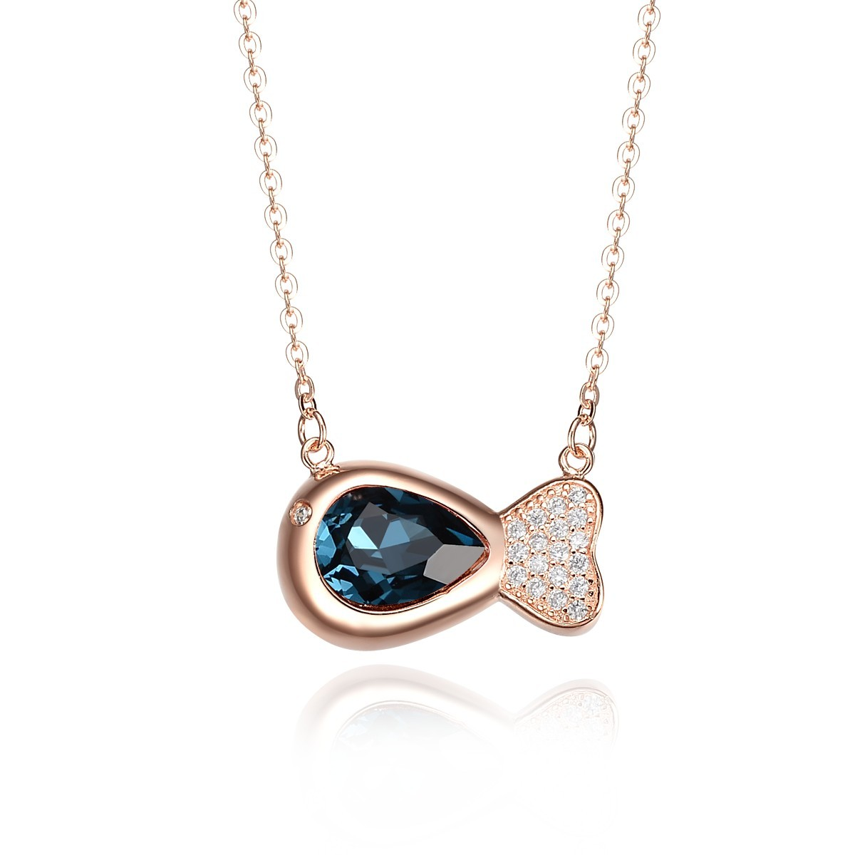 pendant blueheart necklace value product heart jewelry crystal blue fashion elegant