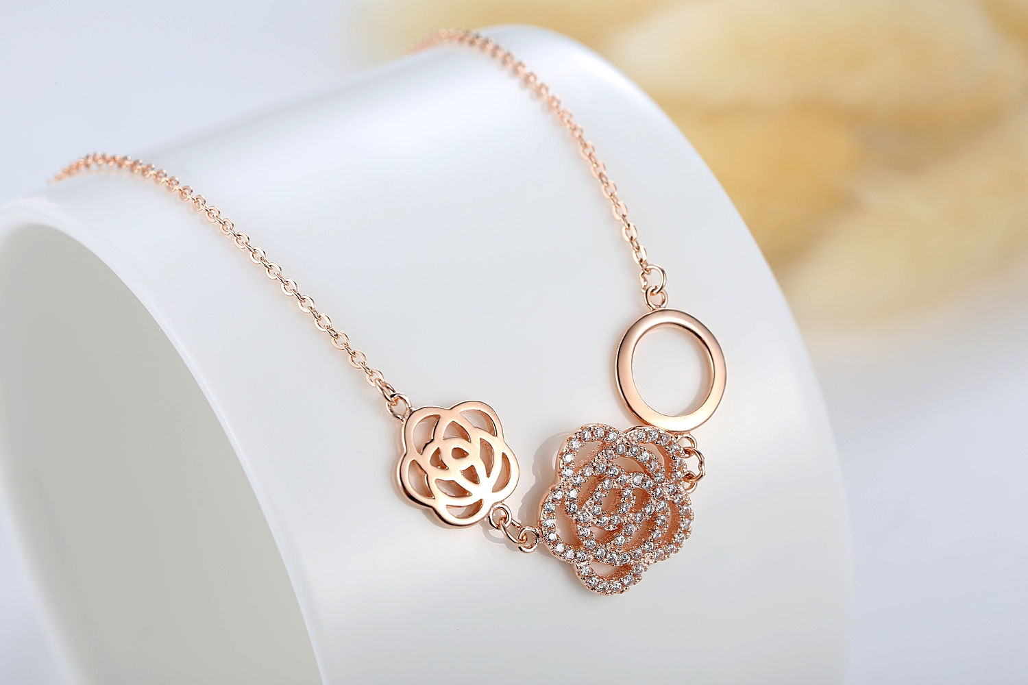 Sterling Silver Rose Gold Plated Gemstone Hollow Rose